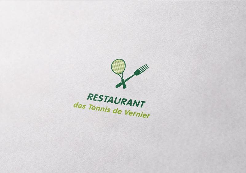 Cration Dun Logo Avec Variantes Horizontale Et Verticale De Cartes Visite Pour Un Restaurant Au Sein Centre Tennis